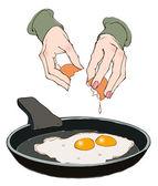 Hands breaking eggs — Stock Vector