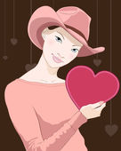 Girl with heart — Stock Vector