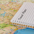 Travel map and notebook — Stockfoto