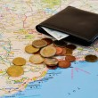 Travel planning: map and cash — Stok fotoğraf