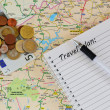 Travel planning: map,notebook and money — Stock Photo