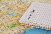 Travel map and notebook — Stock Photo