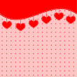 Red background with hearts — Imagen vectorial