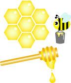 Iconos de abeja, miel y panal — Vector de stock