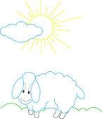 Sheep countour illustration — Stock Vector