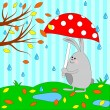Cute rabbit under umbrella — Stock Vector #28173671