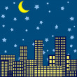 Stock Vector: Night in the city background