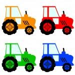 Постер, плакат: Four colorful tractors