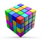 3d cubes colorés sur fond blanc. — Photo