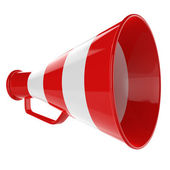 3D Bullhorn... Retro megaphone in a red and white colors isolated on white background. — Stock Photo