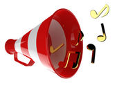 Red megaphone with music notes — Stock Photo