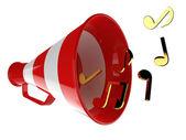 Mégaphone rouge avec des notes de musique — Photo