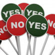 3D No sign among group of Yes signs... - Stock Photo