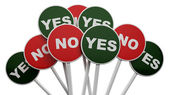 3D No sign among group of Yes signs... — Stock Photo