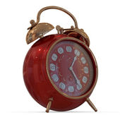3D vintage alarm clock...Isolated white background. — Photo