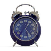 Blue alarm clock isolated on white — Stock Photo