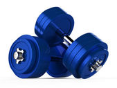 3d illustration of two blue dumbbells — Stock Photo