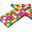 Colourful arrow from cubes — Stock Photo