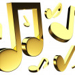 3D golden music notes — Foto Stock