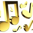 Stock Photo: 3D golden music notes