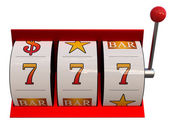 3d illustration of slot machine with dollars jackpot — Stock Photo