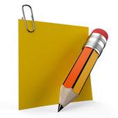 Office not üzerinde sarı bir kalemle yazma — Stok fotoğraf