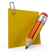 Writing on office note with a yellow pencil — Stok fotoğraf