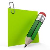 Office not üzerinde yeşil bir kalemle yazma — Stok fotoğraf