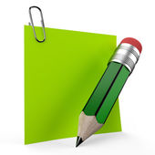 Writing on office note with a green pencil — Stok fotoğraf