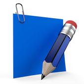 Office not üzerinde mavi kalemle yazma — Stok fotoğraf
