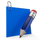 Writing on office note with a blue pencil — Stok fotoğraf