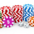 Casino chip stacks over white background. 3D render illustration. — Stock Photo #26271583