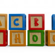 3D alphabet building blocks that spelling the word back to school. — Foto de Stock