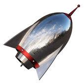 3D illustration of cartoon rocket over white background — Stock Photo