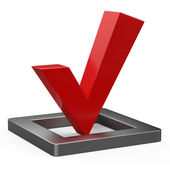 3d illustration of red check mark standing over white background — Stock Photo