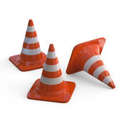 Traffic Cones isolated on white — Stock Photo