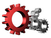 3D Gear.The mechanism isolated on white background — Stock Photo