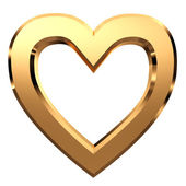 3D golden heart-shaped frame isolated on white background — Stock Photo