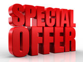 Oferta especial 3d palabra en fondo blanco aislado — Foto de Stock
