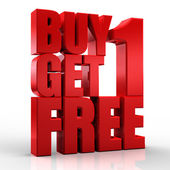 3D Buy 1Get 1 Free text on white background — Stock Photo