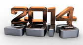 3D 2014 year golden figures with shadow — Stock Photo