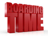 3d boarding-zeit-text auf weißem hintergrund — Stockfoto