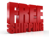 3D Free Shipping text on white background — Stock Photo