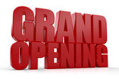 3D Grand Opening text on white background — Stock Photo