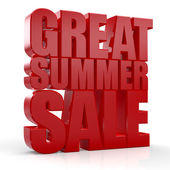 3D Great Summer Sale text on white background — Stock Photo
