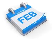 3d illustration februari kalender — Stockfoto