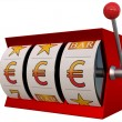 Slot machine with euro symbol jackpot — Stock Photo #37589447