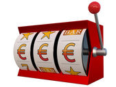 Slot machine with euro symbol jackpot — Stock Photo