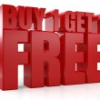 3D Buy 1 Get 1 Free text — Stock Photo #38922859