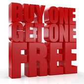 3D Buy one Get one Free text — Stock Photo